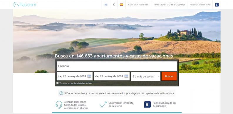 homepage villas.com screenshot